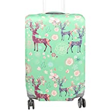 uxcell® Polyester Deer Printed Suitcase Elastic Dustproof Protector Cover Bag 18-20 Inch Green