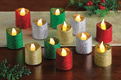 Collections Etc LED Glitter Holiday Flameless Votives – Set of 12