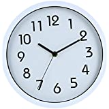 Binwo Modern Colorful Stylish Elegant Silent Non-ticking Home Kitchen/Living Room Wall Clock 10 Inches (White) --2nd Generation