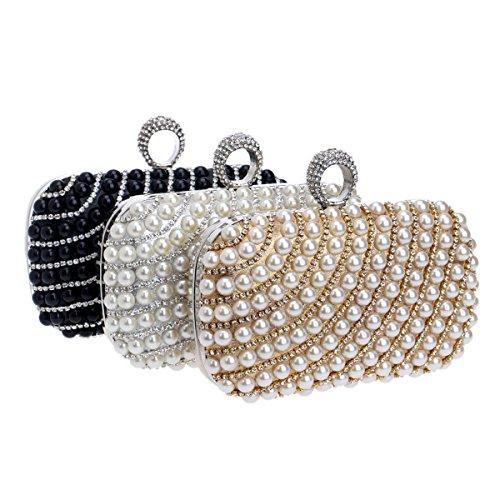 à main Occasion Sac Glitter Femmes Pearl Pochette de soirée Noir Flada Diamond Sacs Soirée Rouge spéciale Wedding et Faux waZSqHq