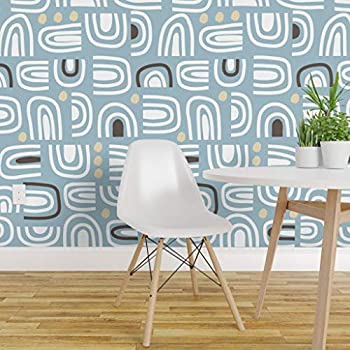Spoonflower Peel and Stick Removable Wallpaper, Mid