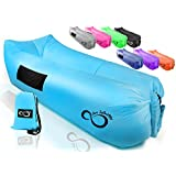 Inflatable Air Lounger Lounge Bag Chair -Headrest, 2 Pockets, 700 Gauge Liner, 420D Ripstop, Securing Loop & Stake - Extra Large Travel Bag- for Beach Or in The Pool 9' Long & Holds 500 lbs