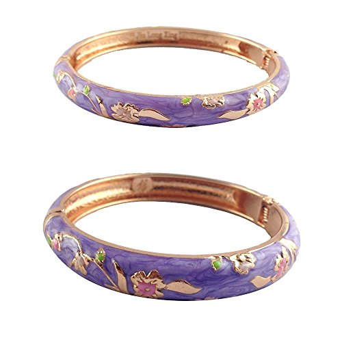 UJOY Designer Jewelry Cloisonne Bracelet Gorgeous Enameled Concise Open Clasp Bangle Bracelets Wedding Gift with Box 55A111-B31 Floral ()