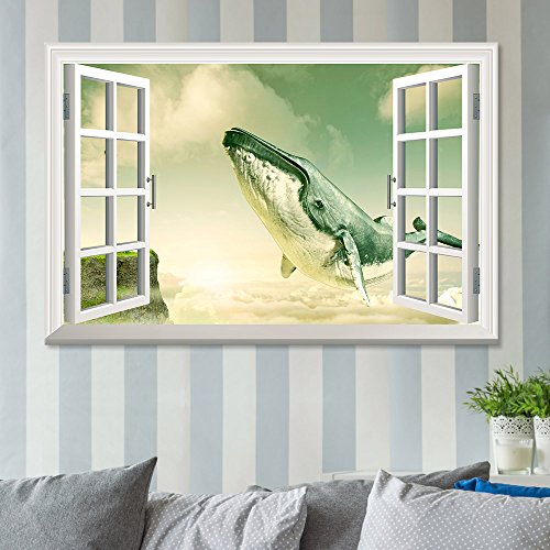 Window View Mystical Style Gigantic Whale Flying Above The Clouds