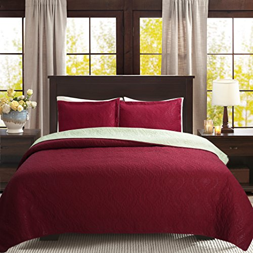 Unique Home 3-piece Reversible Bedspread Bed Coverlets Cover Sets (Burgundy, Calking)