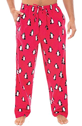 Alexander Del Rossa Men's Lightweight Flannel Pajama Pants, Long Cotton Pj Bottoms, XL Penguin Family Christmas Mother and Child -