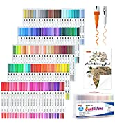 120 Colors Dual Tip Brush Art Marker Pens with 1 Coloring Book, Shuttle Art Fineliner and Brush D...