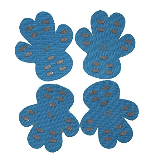Dog Paw Protector Traction Pads Pet paw Protectors Disposable Self Adhesive Shoes Booties Replacement With 40 Counts, 10 Sets for 4 Paws (XL, Blue)