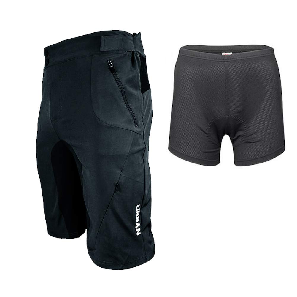 Urban Cycling Apparel Flex MTB Trail Shorts - Soft Shell Mountain Bike Shorts with Zip Pockets and Vents (Small (30''-32''), Black, with Padded Underliner)