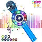 FISHOAKY Karaoke Microphone for kids[Updated], Kids Wireless Bluetooth Karaoke Machine Portable Mic Player Speaker with LED for Christmas Birthday Home Party KTV Outdoor