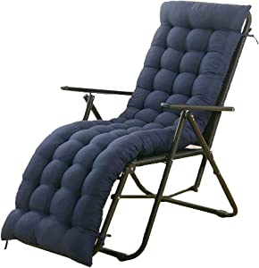 61 Inch Sun Lounger Chair Cushions, Sundlight Patio Cushions Chaise Outdoor Mattress Recliner Quilted Thick Padded Seat Cushion Reclining Chair Rocking with Ties (Navy Blue)
