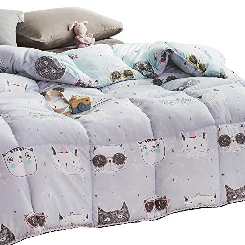 "Price comparison product image MEJU Kids Cats Kitty All Season Down Alternative Quilted Comforter Hypoallergenic Machine Washable (3, Full 78"" X 90"")"