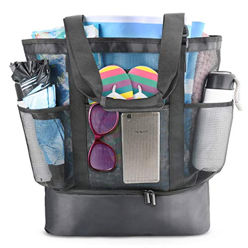 Mesh Beach Bag,Extra Large Beach Tote,Picnic Cooler,Toy and Grocery Storage Bags Adjustable Strap Free Shoulder Pad 8 Pockets,32L (Black) (Best Beach Bag 2019)