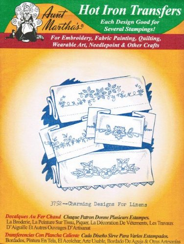 Charming Designs for Linens Aunt Martha's Hot Iron Embroidery Transfer
