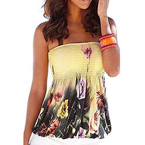 YYW Women's Holiday Floral Print Strapless Pleated Tube Top Shirt Blouse Tanks Camis (M,Yellow) ()