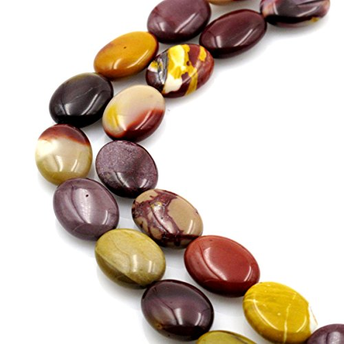- BRCbeads Gorgeous Natural Mookaite Jasper Oval Gemstone Loose Beads 13x18mm Approxi 15.5 inch 22pcs 1 Strand per Bag for Jewelry Making