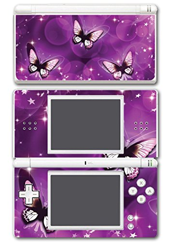 Purple Butterflies Beautiful Art Design Video Game Vinyl Decal Skin Sticker Cover for Nintendo DS Lite System (Purple Nintendo Ds Lite)