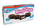 Drake's Ring Dings, 10 count per box, 14.44oz of Frosted Creme Filled Devil's Food Cakes (12-Boxes)