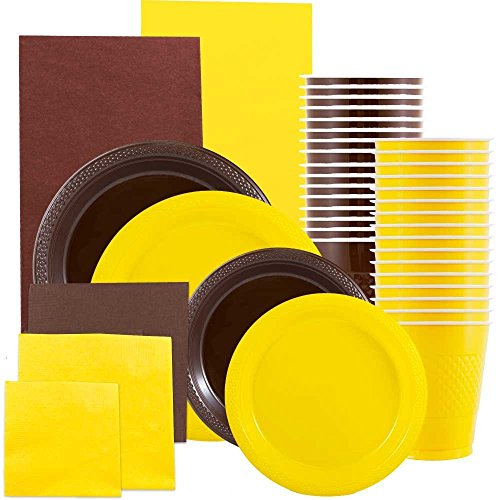 JAM Paper Party Supply Assortment - Brown & Yellow Grad Pack - Plates (2 Sizes), Napkins (2 Sizes) , Cups & Tablecloths - 12/pack