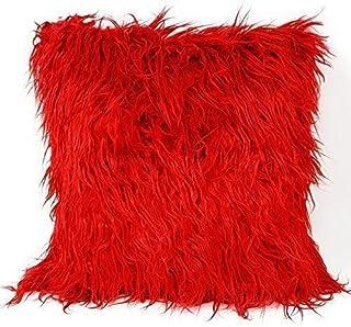 Lusso Mongola con Pelo Finta Pelliccia pelle Scamosciata Rosso Copricuscino 17 ' - 43CM