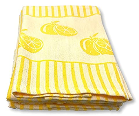 Kitchen Towels Dish Cloth 4-Pack, Super Absorbent, 100% Cotton Tea Towels, 17 by 25 Inch - Modern Vintage Striped Dish Towels (Lemon - Cotton Printed Tea Towel