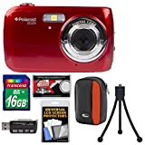 Polaroid iS126 16.1MP Digital Camera (Red) with 16GB Card + Case + Flex Tripod + Kit