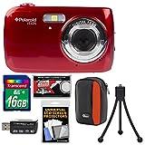 Polaroid iS126 16.1MP Digital Camera (Red) with 16GB Card + Case + Flex Tripod + Kit