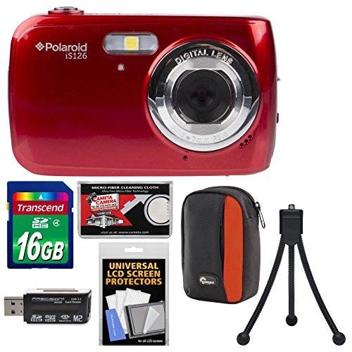 Polaroid iS126 16.1MP Digital Camera (Red) with 16GB Card + Case + Flex Tripod + Kit by Polaroid