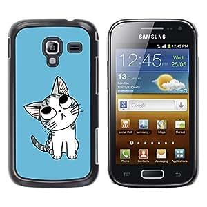 LECELL -- Funda protectora / Cubierta / Piel For Samsung Galaxy Ace 2 I8160 Ace II X S7560M -- Cute Thinking Cat --