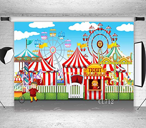 LB Circus Carnival Party Backdrop for Photography 7x5ft Vinyl Wheel Circus Tents Stratus Playground Child Baby Shower Birthday Party Decoration Photo Background Studio Props]()