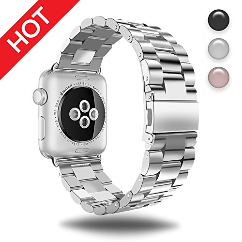 MM Stainless Steel Strap Wristband for Apple Watch Series 3 Series 2 Series 1 All Version Comfortable Durable Folding Metal Clasp Classic Buckle Wrist Watch Strap (Professional Apple)