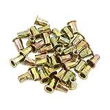 uxcell® 40 Pcs M4 Bronze Tone Carbon Steel Thread Half Hexagonal Rivet Nut Nutserts