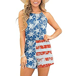 Spadehill Womens Sleeveless Beach Short Pants Boho Floral Rompers