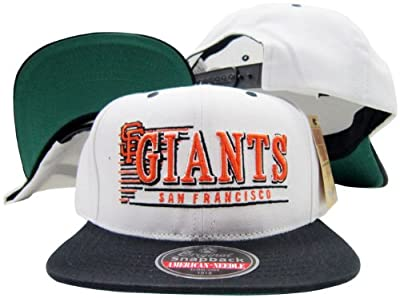 San Francisco Giants White / Black Snapback Adjustable Plastic Snap Back Hat / Cap