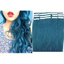 20pcs PU Tape In remy straight 100% human hair extensions 18 inches color Blue