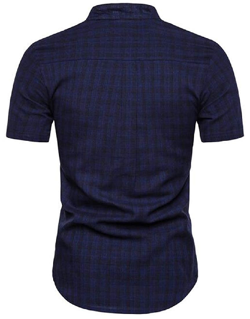 Domple Mens Slim Fit Stand Collar Casual Short Sleeve Checkered Dress Work Shirt