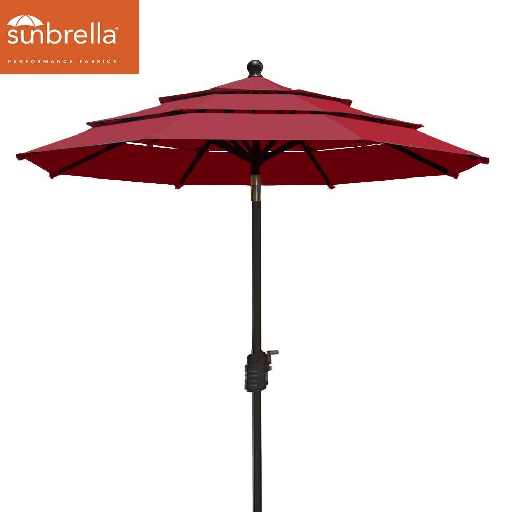 EliteShade Sunbrella 9Ft Patio Outdoor Table Umbrella 3 Layers with Ventilation (Sunbrella Burgundy)