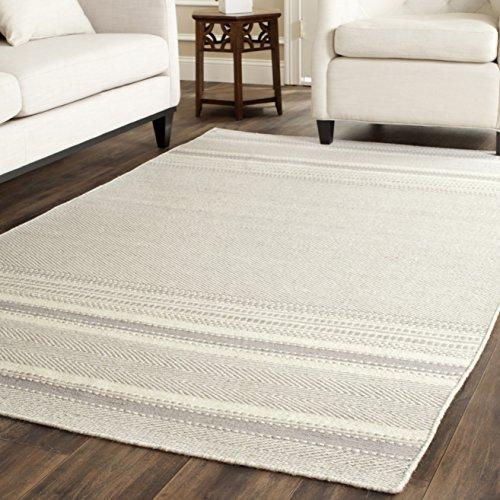 Safavieh Kilim Collection KLM419B Hand Woven Grey and Ivory Premium Wool Area Rug (8' x 10') (Gray Wool Rug)