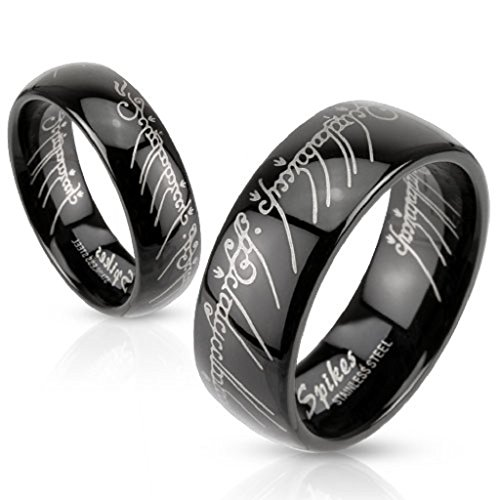Black IP Elvish Script Unisex Laser-etched Lord of the Rings Wedding Ring Band (Etched Wedding Rings)