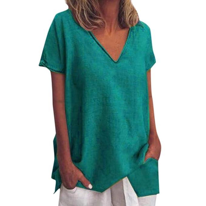 Damen Kurzarm Punkt Oberteil Knöpfe T-Shirt Rundhals Taschen Bluse Freizeit Tops