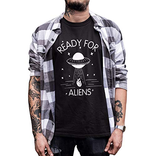 Ready for Aliens Take Away Your Heart UFO Men Funny T-Shirt (2XL, Black1) ()