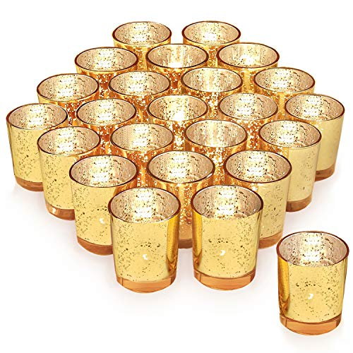 (Gold Votive Candle Holder Set of 24 ,HabiLife Mercury Glass Tealight Candle Holder,Adds The Perfect Ambiance to Your Wedding/Home Decor)