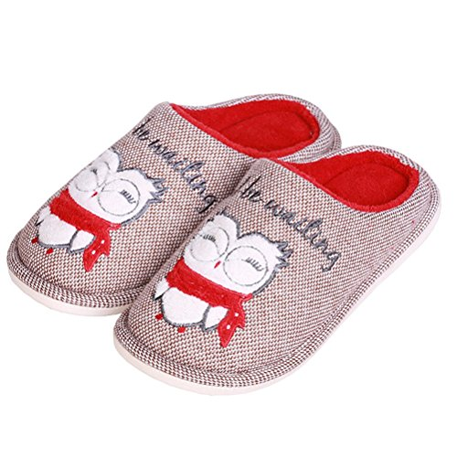 Soft Men's Knitted Slip Slippers Bedroom Cotton Closed Non owl Flat red YUTIANHOME Toe Warm coffee Indoor Shoes Home Washable wXqFRWBnd