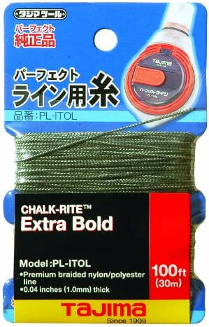 B000YZ3698 TAJIMA Replacement Snap-Line - 1.0 mm x 100 ft Chalk-Rite Braided String for Extra-Bold & Visible Markings - PL-ITOL 51ig0Q2BRjkL