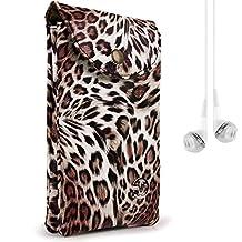 VG Safari Series Brown Leopard Cross-body Shoulder Satchel Bag for Nokia Lumia 520/Lumia 635/Lumia 920 + White VanGoddy Earphones