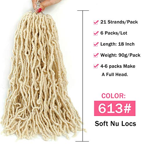 "Faux Locs Crochet Hair 6 Packs Goddess Locs Crochet Braids Befunny Prelooped Dreads Blonde Soft Natural Wavy Pre Looped Dreadlocks Synthetic Braiding Hair For Women(18"",613#)"