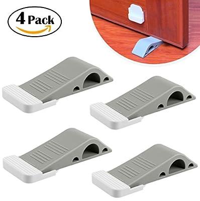 Door Stopper 2 Packs with Free Bonus Holders, Rubber Decorative Door Stop Wedge Fits Wood Carpet Tile Laminate Concrete Floor for House Bedroom Office Doors (Gray)