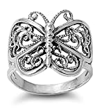 Prime Jewelry Collection Sterling Silver Women's Filigree Wings Butterfly Ring (Sizes 5-12) (Ring Size 9)