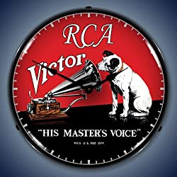 The Finest Website Inc. New RCA Victor Retro Vintage Style Advertising Backlit Lighted Clock - Ships Free Next Business Day to Lower 48 States