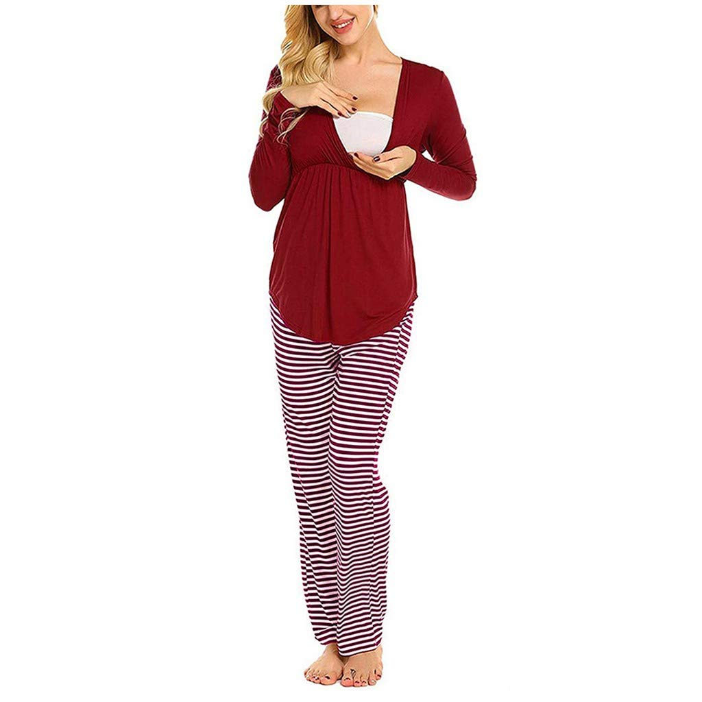 Maternity Nursing Pajama Set,Crytech Soft Comfy Solid Long Sleeve V Neck Wrap T-Shirt Top for Breastfeeding Casual Loose Striped Pants Sleepwear Nightgown Pjs Set for Preganct Women